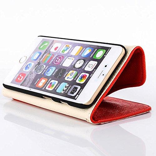 Custodia inShang cover per iPhone 6 4.7, Cover con Cerniera + build-in tasca , Supporto rigido per iphone6 Case in pelle PU, , + inShang Logo pennino di alta classe+ inShang Logo pennino di alta clas zipper red