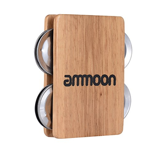 ammoon Cajon Box Drum accessorio Falke 4-campanillas Jingle Castanet per strumenti a percussione manuale