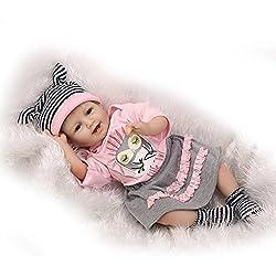 Nicery Reborn Baby Doll Renacer Bebé la Muñeca Vinilo Simulación Silicona Suave 22 Pulgadas 55cm Boca Magnética Natural Niña Niño Juguete vívido para 3 años + Smill Princess Owl