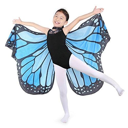 Dance Fairy Schmetterling Flügel Umhang Weiche zum Tanzen Kostüm Zubehör Kinder und Erwachsene, Himmel Blau passend 100cm-160cm
