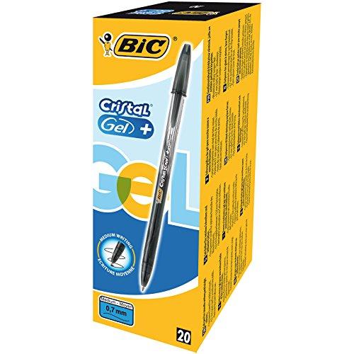 Bic Cristal Gel + Penna Gel Punta Fine 0,7 mm Confezione 20 Penne Colore Nero