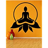DECOR Kafe Home Decor Lord Buddha Wall Sticker, Wall Sticker For Bedroom, Wall Art, Wall Poster (PVC Vinyl, 50 X 50 CM)