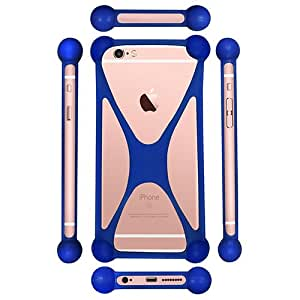 Casotec Universal Silicone Bumper Frame Soft Gel Phone Case Cover for Micromax Bolt Q339 - Dark Blue