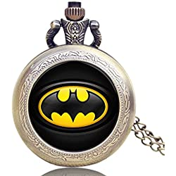 Batman Logo Quartz Pocket Watch Necklace - Antique Bronze Effect - GIFT BOXED WITH FREE SPARE BATTERY