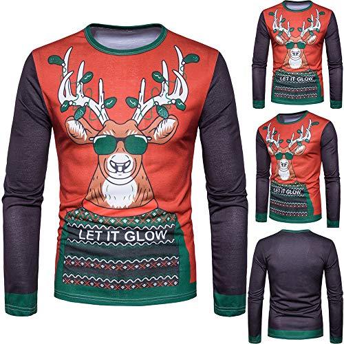 (Herren Herbst Winter Weihnachten Weihnachten PrintingTop Langärmelige T-Shirt Bluse für Herren Herren-T-Shirt mit langärmeligem Print und Print)