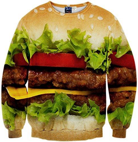 Pizoff Unisex Hip Hop Sweatshirts mit 3D Digital Print 3D Muster Hamburger Rindfleisch Salat...