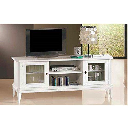 Mobile arredo 164x46x64h bianco opaco porta televisore tv legno massello basso design classico