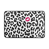 deyhfef Black and White Leopard Texture with Kiss Print Doormat, Entry Way Indoor Outdoor Door Rug with Non Slip Backing 31.5 X 19.5 Inch