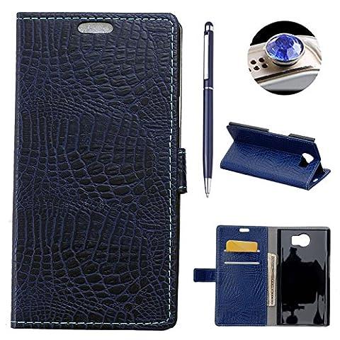 AyiHuan Blackberry Priv Coque, Mode Flip Case PU Cuir Housse de Protection Pochette Magnétique Couverture pour Blackberry Priv PU Leather Smart Case,bleu 2