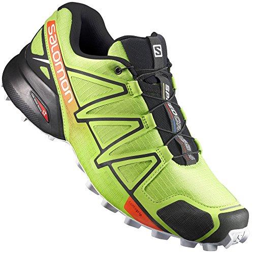 Salomon Herren Speedcross 4 Traillaufschuhe, Mehrfarbig (Lime Green/Black/Scarlet Ibis), 42 EU (Schuhe Athletic 4)