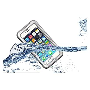 Zerowin Waterproof, Dust Proof, Snow Proof Case with Touched Transparent Screen Protector Heavy Duty Protective Carrying Cover Case for Iphone 6 4.7 Inch, White