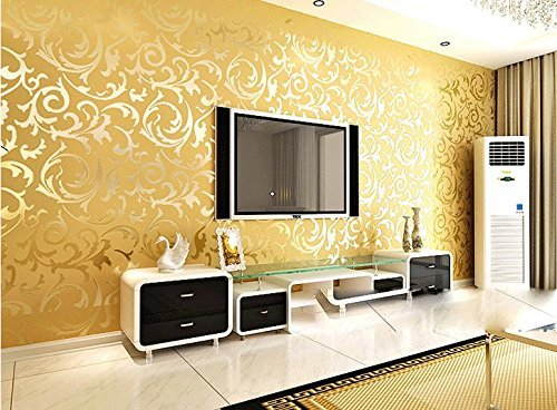 "Price comparison product image Kamay's Top Grade Breathable 3D Flocking Embossed Microfiber Nonwoven Wallpaper Roll Classic Minimalist Glitter Metallic Bead Light Gold Damask Stripes Pattern (7033)0.53m(20.8"")*10m(32.8"")=5.3SQM(57sqfeet)"