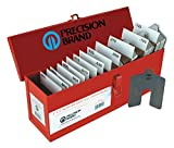 """Precision Brand 42950 130 Piece Assorted Size B 3″ x 3″ Stainless Steel Slotted Shim, Slot Size 7/8"""", 300 Series Stainless Steel"""