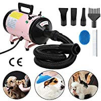 Voilamart 2800W Pet Grooming Hair Dryer High Velocity Dog Cat Hairdryers Low Noise Dryer Blaster with 2 Speed Adjustable Temperature Heater, Bath Comb and Flexible Hose Pink, 1 YEAR WARRANTY