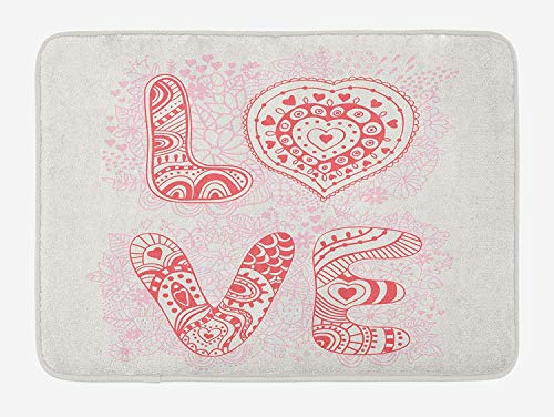 ZKHTO Love Bath Mat, Romantic Floral Background with Letters of The Word Love with Ornamental Design, Plush Bathroom Decor Mat with Non Slip Backing, 23.6 W X 15.7 W Inches, Coral Pink Cream -