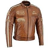 Herren Retro Biker Lederjacke Motorrad Jacke Race Streifen Rockerjacke Chopper, XL