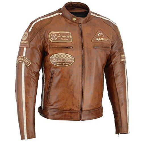 Herren Retro Biker Lederjacke Motorrad Jacke Race Streifen Rockerjacke Chopper, XXL