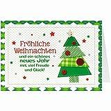 Knopfkarte für Weihnachtsgrüße - X-mas - Fröhliche Weihnachten - Tannenbaum - 2