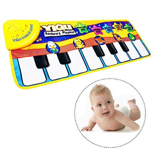 Itian Musical Alfombra Bebé Niño Pequeño Actividad Juego De Gimnasio Colchonetas,Alfombra de Música para Bebé,Bebé estera de piano de los juguetes toque musical canto teclado estera de alfombra animal divertido manta de piano para el regalo del bebé