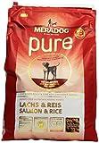 MERADOG PURE Adult Trockenfutter I Hundefutter ohne glutenhaltige Zutaten für sensible Hunde mit Lachs und Reis I 4 Kg