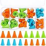 Blulu 40 Stück Mehrfarbige Nadel Punkt Stopper Nadel Punkt Protektoren Nadeln Stricken Zubehör mit Kunststoff Aufbewahrungsbox, 2 Größen