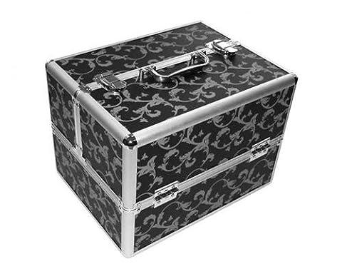 Kosmetikkoffer Flower Print Schwarz Silber-Beauty case Friseurkoffer