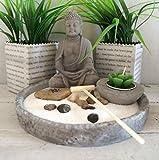 Japanischer Steingarten mit Buddha und Kerze grau- SET 6-tlg + 1 x Holzherz grau