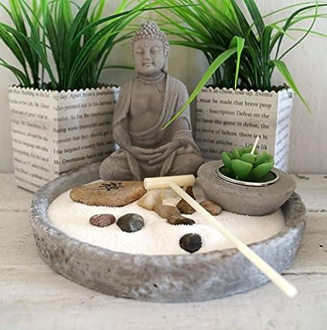 Japanischer Steingarten mit Buddha und Kerze grau-- SET 6-tlg + 1 x Anhänger Schneeflocke