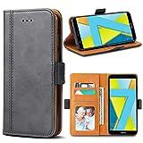 Bozon Honor 7X Hülle, Leder Tasche Handyhülle für Huawei Honor 7X Flip Wallet Schutzhülle mit Ständer & Kartenfächer/Magnetverschluss (Dunkel-Grau)