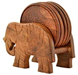 #9: Maximilian handicraft Wooden Elephant Design Tea and Coffee Coaster Set, 7-Piece, Brown