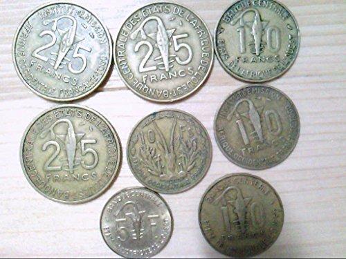 West African States, Konvolut von 8 Münzen, 3 x 25 Francs, 4 x 10 Francs, 1 x 5 Francs.
