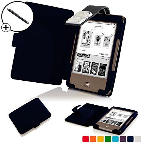 Forefront Cases® Tolino Page Shell Hülle Schutzhülle Tasche Bumper Folio Smart Case Cover Stand mit LED Licht - Leicht mit Rundum-Geräteschutz inkl. Eingabestift (Dunkel Blau) -