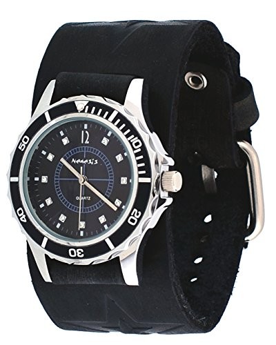 Nemesis #FST092K Women's Star Icon Black Dial Sports Wide Leather Cuff Band Watch
