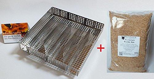 Räucherteufel Kaltraucherzeuger, Sparbrand Paket-4 inkl. Kalträuchermehl Buche, fein 500g -