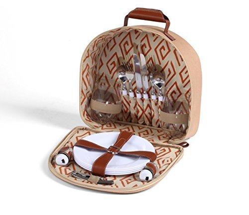 Woodluv Picknick-Tasche für 2, Inhalt: Besteck, Teller, Gläser, Korkenzieher, Salz- und Pfefferstreuer.
