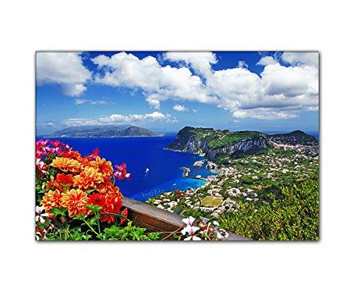 DEINEBILDER24 - Wandbild XXL wunderschöne Capri Insel, Italien 80 x 120 cm auf Leinwand und Keilrahmen. Beste Qualität, handgefertigt in Deutschland!