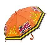 QWERTYUIOP Parapluie Dessin animé Mignon Parapluie à Long Manche 8 Renfort osseux Super Facile à Transporter Parapluie Enfants Camion de Pompiers (Orange)
