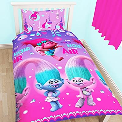 Trolls Childrens/Kids Official Glow Reversible Duvet Cover Bedding Set produced by Trolls - quick delivery from UK.