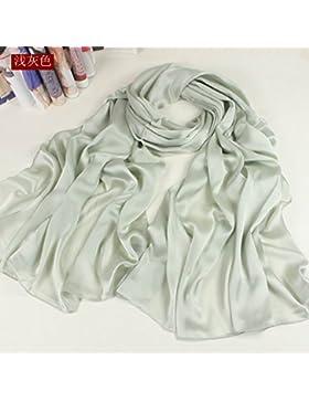 FLYRCX Suave y cómodo de seda bufanda damas primavera e invierno largo chal 190cmx90cm,D