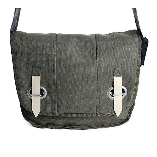 HAB & GUT (E3026A-O) Big bag-PROVOKED, messenger en toile canvas avec fermeture œillet et sangle vert olive 35 x 30 cm