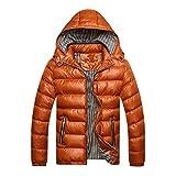 Herren Langarm Steppjacke Mit Kapuze Bekleidung Gesteppt Warme Wintermantel Parka Elegante Herbst Winter Männer Ntel (Color : Gelb, Size : XL)