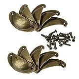#2: NF&E Set Of Vintage Brass Pull Handle Door Cabinet Dresser Drawer Knob With Screws