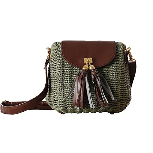 767a91e7ddfb0 SUNAVY Damen Süß Stroh Schultertasche Tragbar Handtaschen Sommer  Strandtaschen mit Quaste