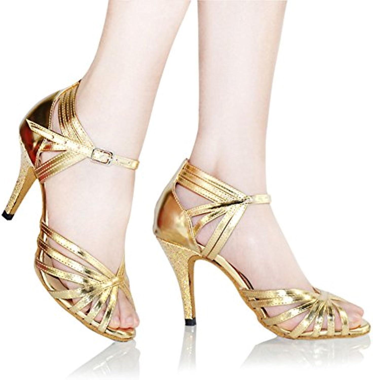 GUOSHIJITUAN Frauen Gold Latein TanzschuhePu Leise Unten Leder Dancing Schuhe High Heels Tango Salsa Sozialeö