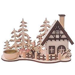 Räucherhaus Waldhütte mit Teelichthalter, H: 15cm, natur, gelasert