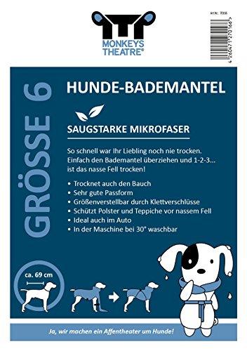Hundebademantel Gr. 6: ab ca. 69 cm Rückenlänge – trocknet auch den Bauch! geeignet für sehr große Hunde z.B. Berner Sennenhund, weibl. Neufundländer - 4