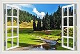 Vinilo decorativo adhesivo para pared, diseño tridimensional de bosque, W0284, 32