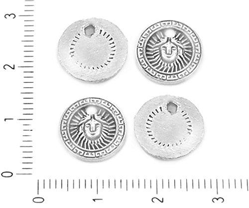 20pcs Antique Silver Tone Flat Coin Anhänger Runde Sonne Gesicht griechischen Stil Charme 12mm