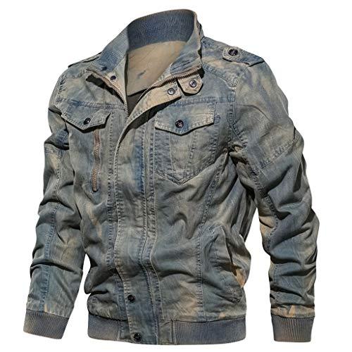 Mosstars Giacca Invernale da Uomo Casuale Giubbotto e Cappotto in Denim Cotone Giacche di Jeans Manica Lunga Jacket Outwear Retro Caldo Parka Cappott