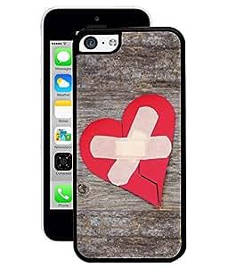 Fuson 2D Printed Bandaged Heart Designer Back Case Cover for Apple iPhone 5C - D918